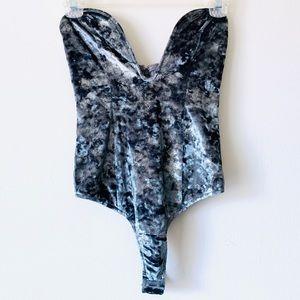 Revolve • Sexy Velvet Plunge Brazilian Bodysuit XS